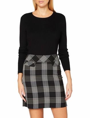 Dorothy Perkins Women's Black and Camel Check Mini Skirt 8