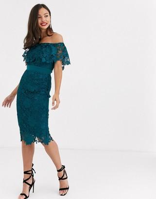 Paper Dolls bardot lace midi dress in vivid teal