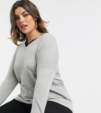 Vero Moda Curve v neck jumper with lace trim in grey