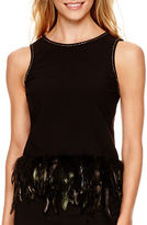 Nicole Miller Nicole By nicole by Feather-Trim Tank Top