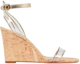 Aquazzura Minimalist 85 Leather-Trimmed PVC Wedge