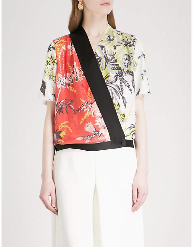 Diane von Furstenberg Floral-print sequinned wrap top