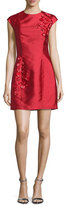 Sachin + Babi Cap-Sleeve Embellished Cocktail Dress, Raspberry