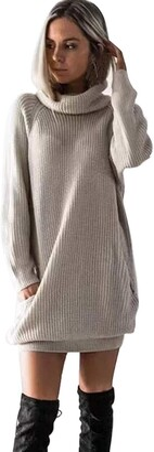 jieGorge Dresses for Women Casual Womens Long Sleeve Turtleneck Knitted Dress Roll Neck Jumper Dress Ladies Mini