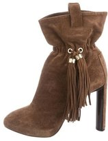 Celine Suede Tassel-Accented Ankle Boots