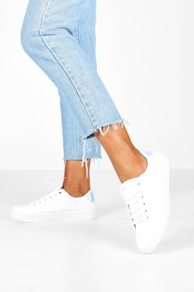 boohoo Holographic Panel Basic Lace Up Flat Trainers