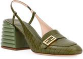 Fendi Croc-Embossed Leather Block-Heel Pumps