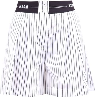 MSGM Logo Band Striped Shorts