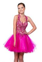 Terani Couture 151P0008A Halter Strap Embellished Cocktail Dress