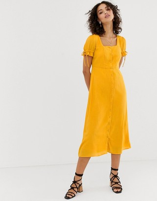 Vero Moda square neck maxi tea dress-Gold