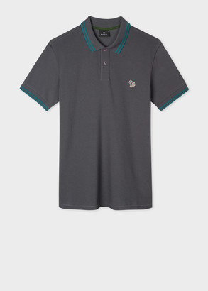 Paul Smith Men's Slim-Fit Grey Zebra Logo Cotton Polo Shirt With Teal Tipping