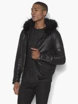 John Varvatos Leather Hooded Bomber