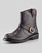 MARC by Marc Jacobs Polished Calfskin Motorcycle Ankle Boot, Black (Stylist Pick!)