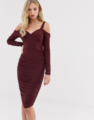AX Paris long sleeve bardot bodycon dress