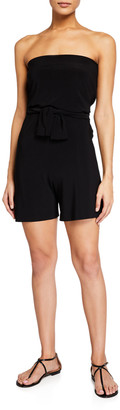 Norma Kamali Tie-Front All-In-One Strapless Romper Jumpshort
