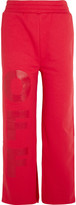 Off-White Off Split-hem Printed Cotton-jersey Track Pants - Red