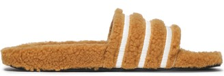 adidas Striped Faux Shearling Slides