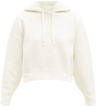Valentino Cropped Knitted Hooded Sweatshirt - Ivory