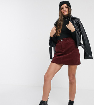 New Look Petite cord mini skirt in burgundy-Black