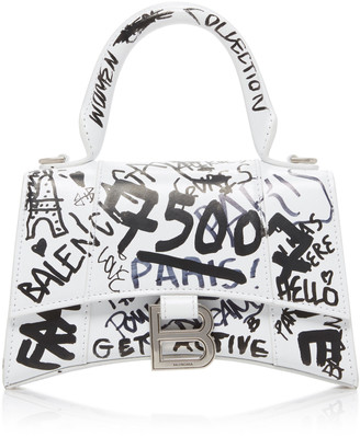 Balenciaga Hourglass Graffiti-Print Leather Mini Handbag