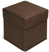Badger Basket Folding Kids Cotton Cube Ottoman with Storage Compartment