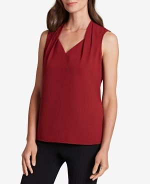 Tahari ASL Pleated-Neck Sleeveless Top