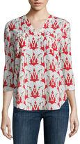 Liz Claiborne 3/4-Sleeve V-Neck Top