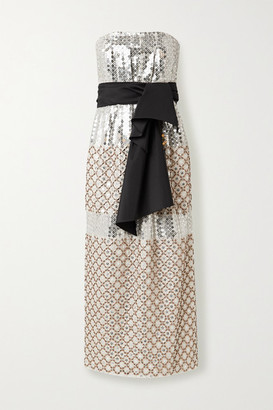 Carolina Herrera Bow-detailed Embellished Silk Midi Dress - Ivory