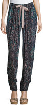 See by Chloe Mosaic-Print Drawstring Pants, Black