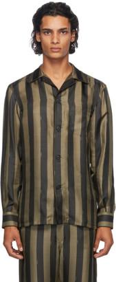 Fendi Black and Gold Silk Striped Logo Pyjama Shirt