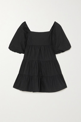 Faithfull The Brand + Net Sustain Eryn Tie-detailed Tiered Cotton-poplin Mini Dress - Black