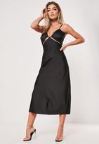 Missguided Black Satin Cut Out Cami Midi Slip Dress