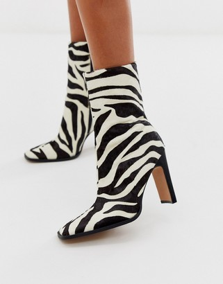 Asos Design DESIGN Evolution leather high ankle boots in zebra pony-Multi