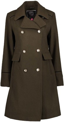 Vince Camuto Women's Pea Coats Loden - Loden Wool-Blend Peacoat - Women