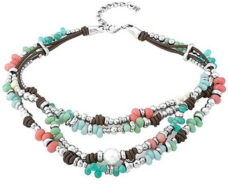 Uno de 50 UNOde50 Women's Necklaces - Coral & Silver-Plated Caribbean Moon Leather Layered Necklace