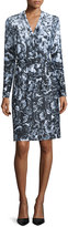 Kay Unger New York Long-Sleeve Floral-Print Jersey Dress, Black/White