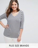 Junarose Stripe V Neck T-Shirt