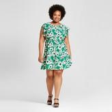 Merona Women's Plus Size Feminine Dress Green Floral