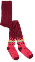 Catimini Heart & Chevron Knit Tights, Bordeaux, Size 9M-3
