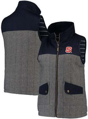 Women's Navy Syracuse Orange Prep For It Herringbone Knit Full-Zip Vest