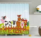 Animal Shower Curtain by Ambesonne, Cute Farm Creatures with Cow Horse Goat Pig and Chicken by the Fences Kids Cartoon, Fabric Bathroom Decor Set with Hooks, 70 Inches, Multicolor