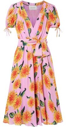 Carolina Herrera Floral-print Silk Crepe De Chine Midi Wrap Dress