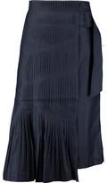 Tibi Manuela Pleated Denim Midi Skirt