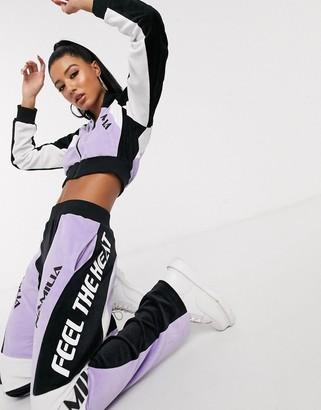 Namilia cropped velour jacket with diamante sleeve slogan co-ord