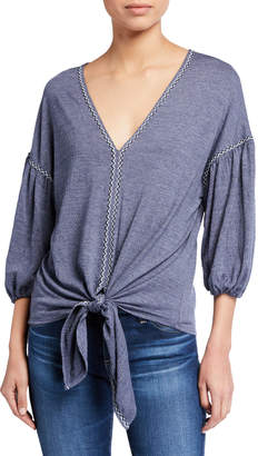 Max Studio Bubble-Sleeve Tie-Front Knit Top