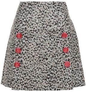 Dolce & Gabbana Button-embellished Metallic Jacquard Mini Skirt