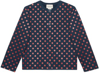Gucci Baby cotton cardigan with polka dot print