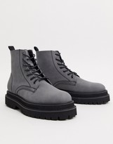 Asos Design DESIGN lace up boots in grey faux leather on stacked chunky sole