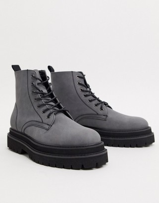 Asos DESIGN lace up boots in grey faux leather on stacked chunky sole
