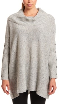 Joseph A Button-Sleeve Cowlneck Sweater